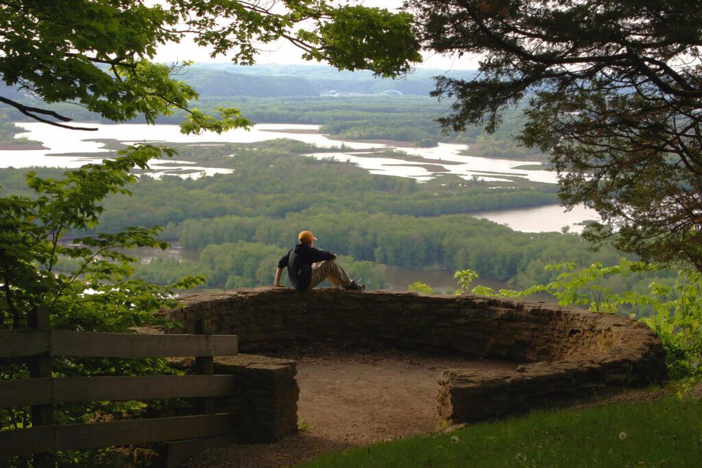 Hiker overlooking the landscape