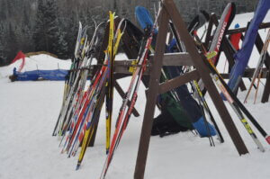 Cross country skis sit against a ski rack at Minoqua's Winter Park, whose purchase was made possible by Wisconsin's Knowles-Nelson Stewardship Program