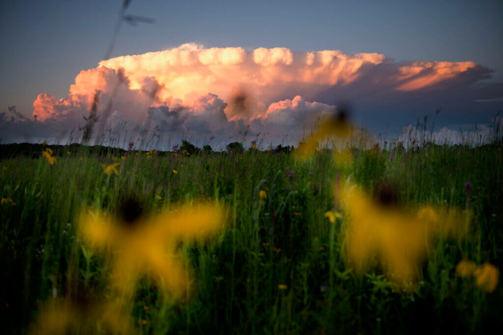 A storm cloud rises above the Englewood Preserve, protected by Standing Cedars Land Conservancy with funding from Wisconsin's Knowles-Nelson Stewardship Program