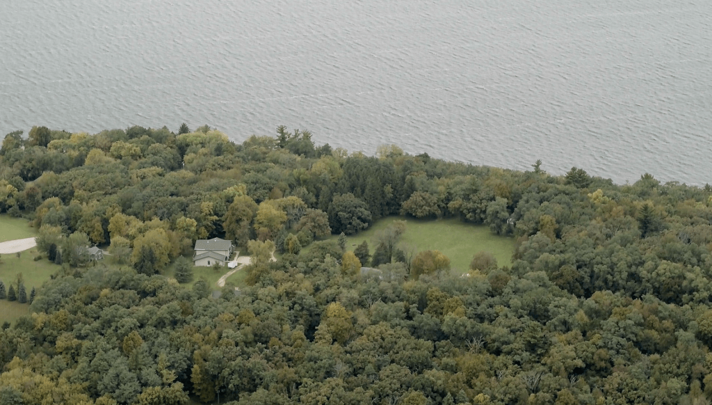 An aerial view of the Tichora Conservancy, protected by Green Lake Conservancy, with funding from the Knowles-Nelson Stewardship Program
