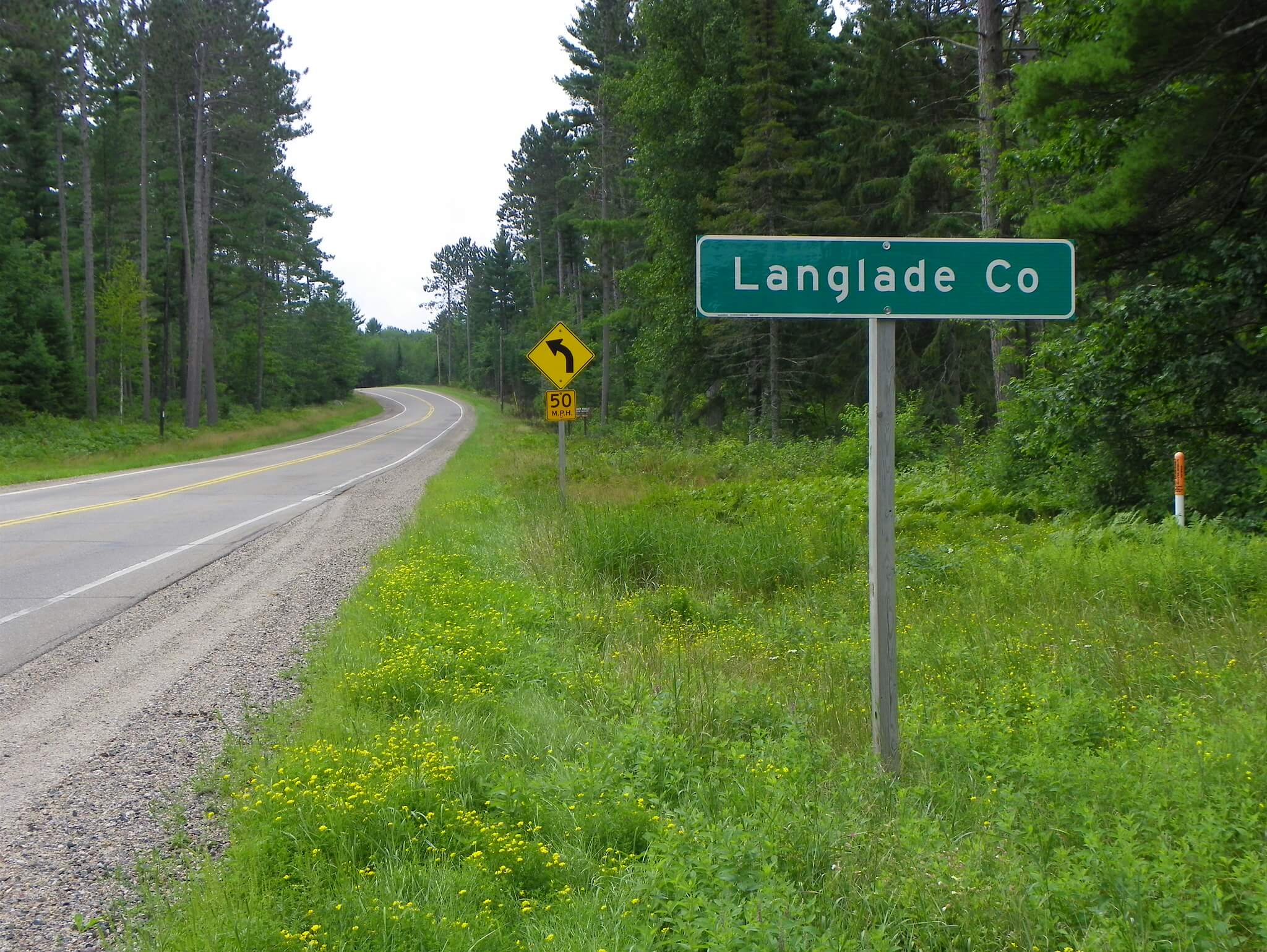 Highway roadside at the Langlade County, Forest County line