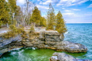 Cave Point in Door County. Door County has received tens of millions of dollars in support from the Knowles-Nelson Stewardship Program.