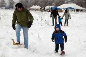 Snowshoeing in Wisconsin. Parks and trails saw increased interest during the pandemic and need increased funding, like from the Knowles-Nelson Stewardship Program, to support them.