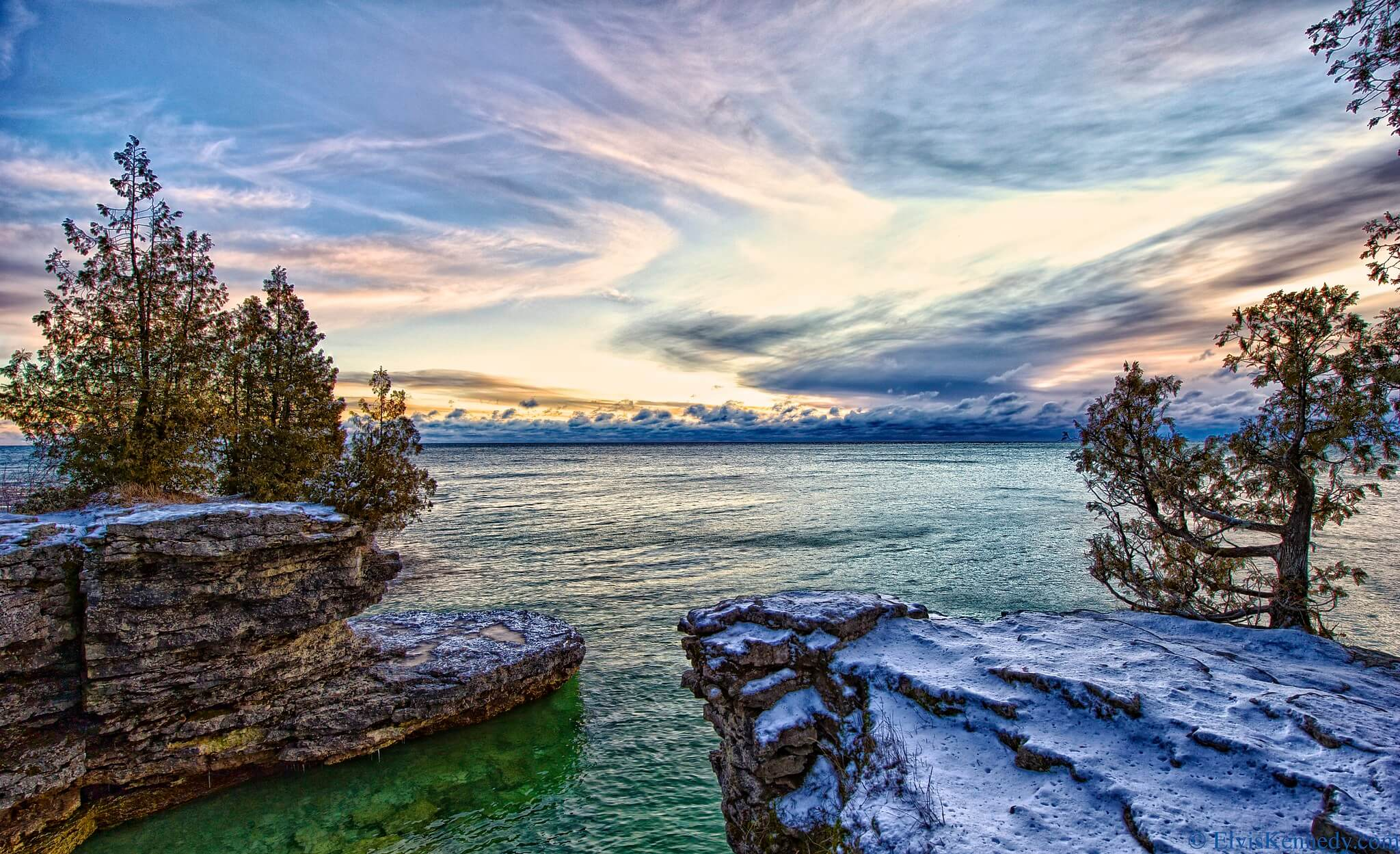 Winter sunrise over Lake Michigan. Across Wisconsin, the Knowles-Nelson Stewardship Program has preserved similar vistas.
