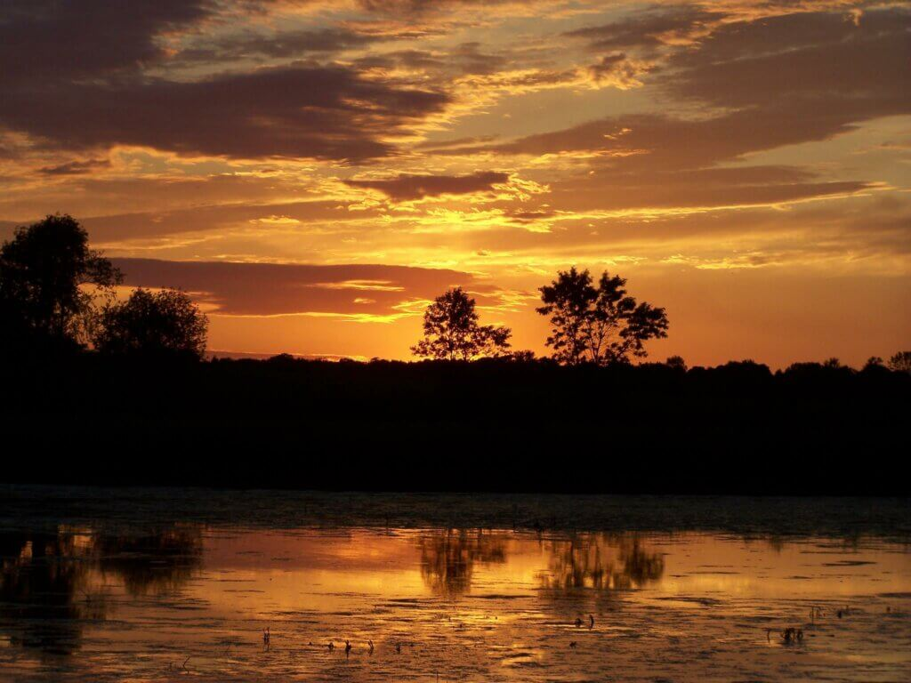 Sunset on a marsh in Wisconsin, where many similar habitats have been conserved through the Knowles-Nelson Stewardship Program.