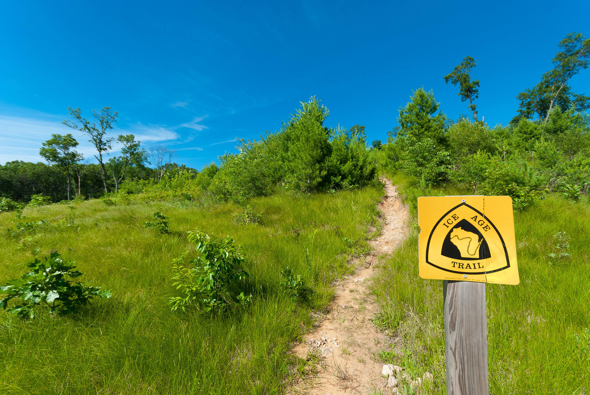 A sign along the Ice Age Trail, many segments of which have been funded by the Knowles-Nelson Stewardship Program.